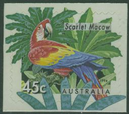 Australia SG1485a 45c Macaw type II from booklet (exSB86)
